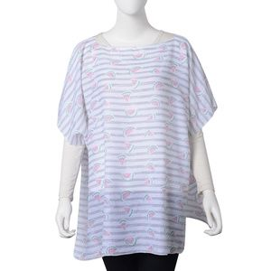 NWT Gray Striped Polyester Watermelon Pattern